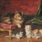 Alfred-Arthur Brunel de Neuville | Katzenmutter mit ihren Jungen