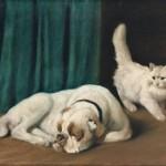 Arthur Heyer | Ruhende Bulldogge und weiße Perserkatze, um 1931