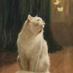Arthur Heyer | Weiße Katze mit Zitronenfalter