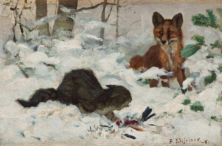 Bruno Andreas Liljefors | Katze und Fuchs, 1881