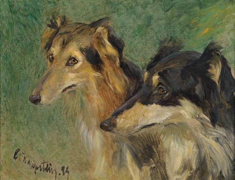 Carl Friedrich Kappstein | Porträt zweier Borzoj-Hunde, 1894