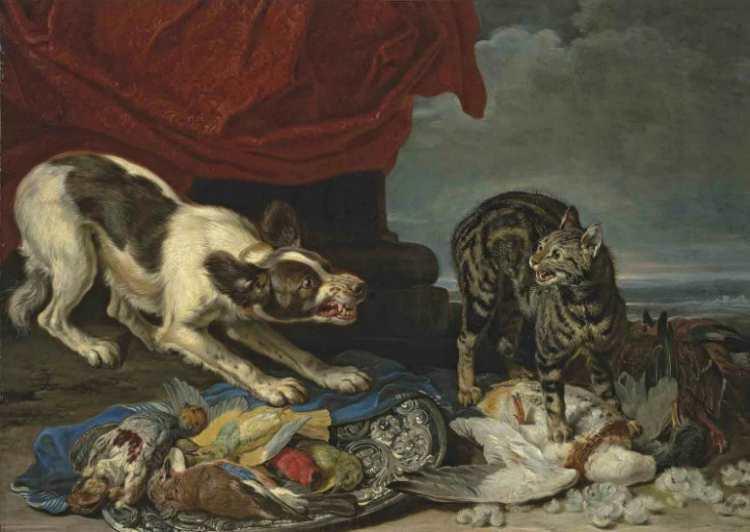 David de Coninck | A cat and a dog fighting over fowl