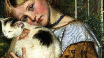 Robert Braithwaite Martineau   A Girl with a Cat, 1860