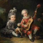 François-Hubert Drouais | Children of the Marquis de Béthune Playing with a Dog, 1761 | Birmingham Museum of Art
