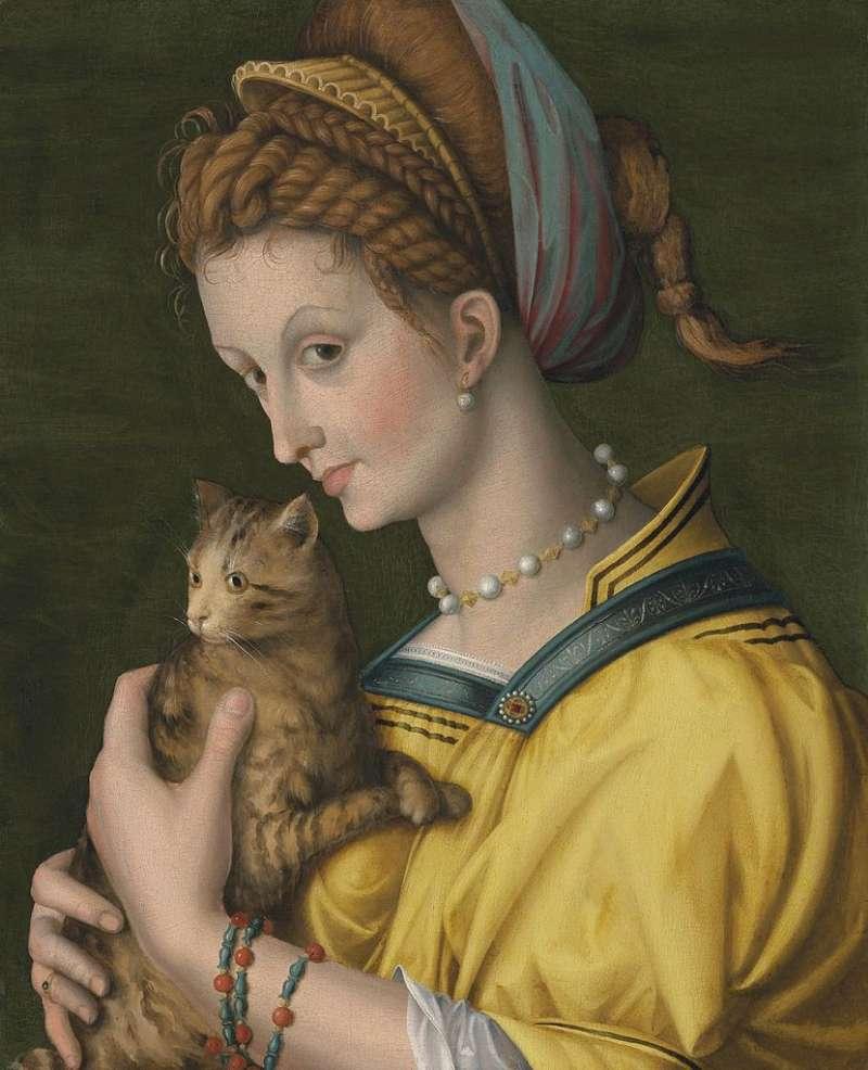 Francesco Bacchiacca   Porträt einer jungen Frau mit Katze, 1525-1530