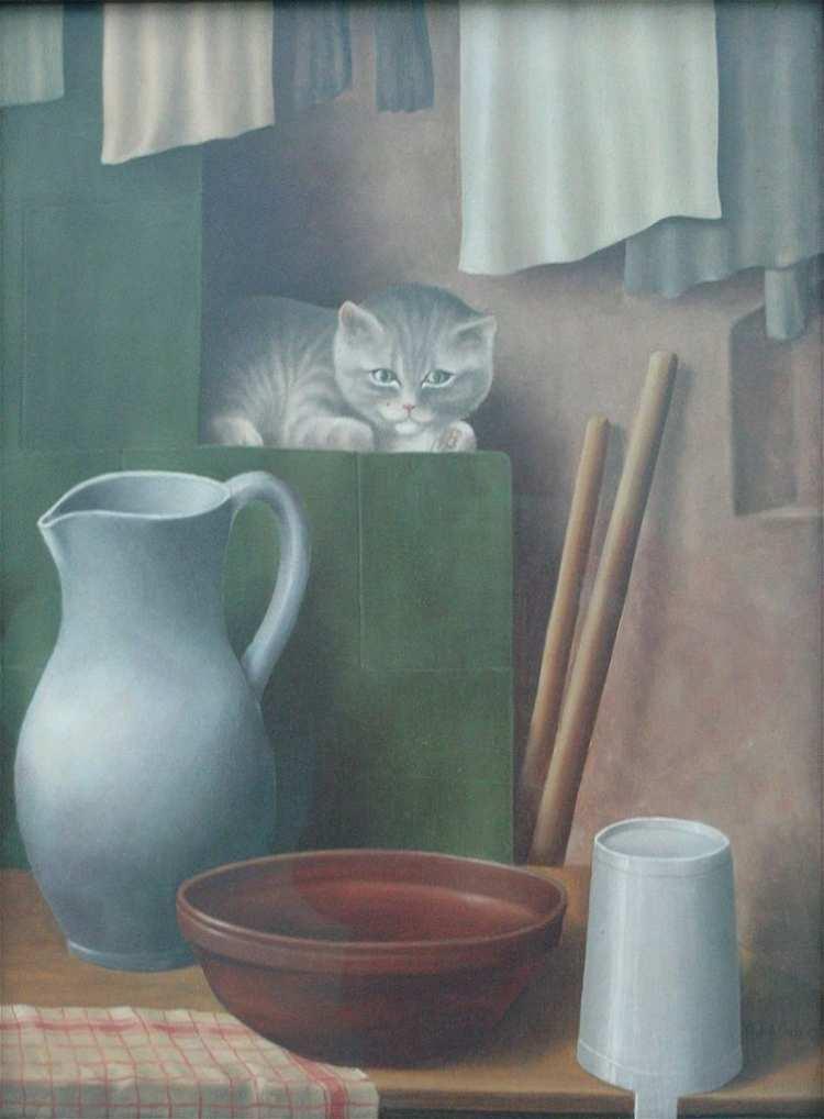 Georg Schrimpf | Stillleben mit Katze (Ofenecke), 1923