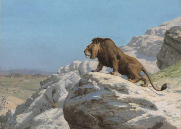 Jean-Léon Gérôme | Lion on the Watch, ca. 1885