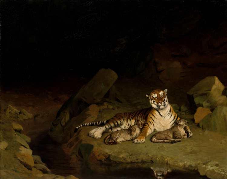Jean-Léon Gérôme | Tiger and Cubs, ca. 1884