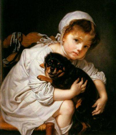 Jean-Baptiste Greuze | Mädchen mit Spaniel