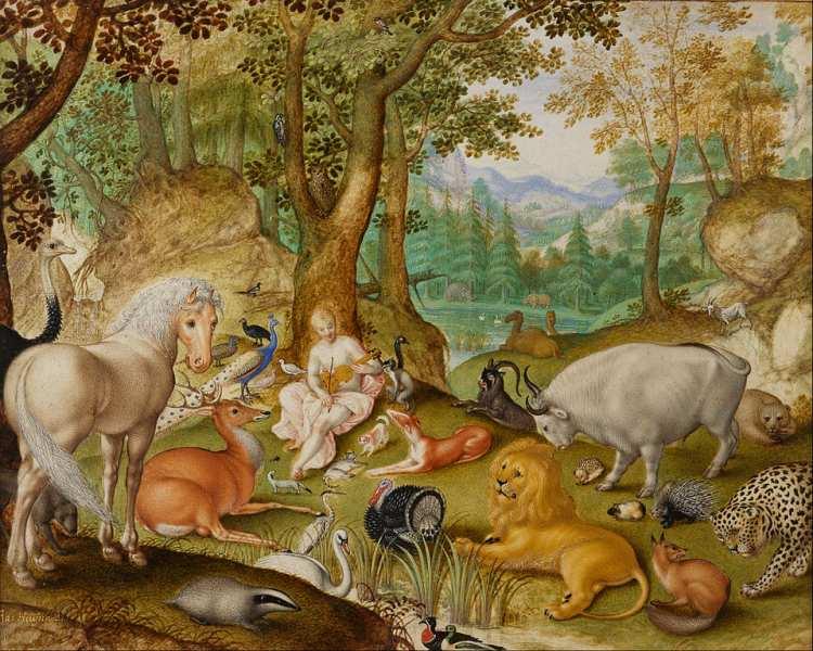 Jacob Hoefnagel   Orpheus charming the animals, 1613