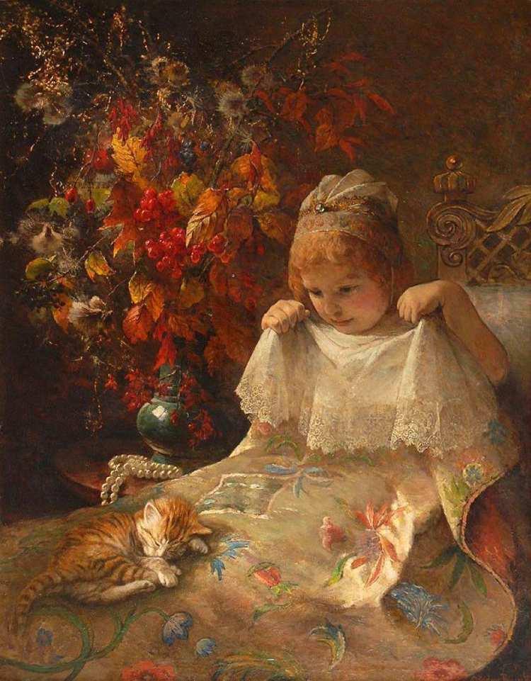 Jeanna Bauck | Mädchen mit Katze in einem Bett, 1926