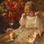 Jeanna Bauck | Mädchen mit Katze in einem Bett, 1926 (Detail)
