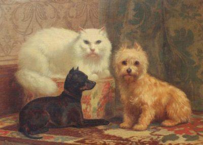John Henry Dolph | Porträt einer Perserkatze mit zwei Hunden