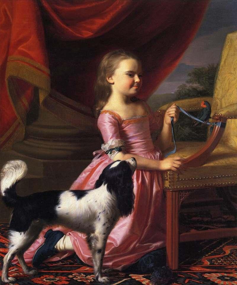 John Singleton Copley | Young Lady with a Bird an a Dog, 1767