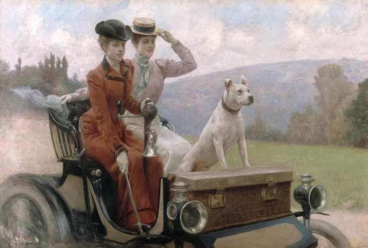 Julius LeBlanc Stewart | Les Dames Goldsmith au Bois de Boulogne en 1897 sur une Voiturette, 1901