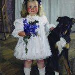 Boris Kustodiev | Irina, die Tochter des Künstlers, mit Hund, 1907