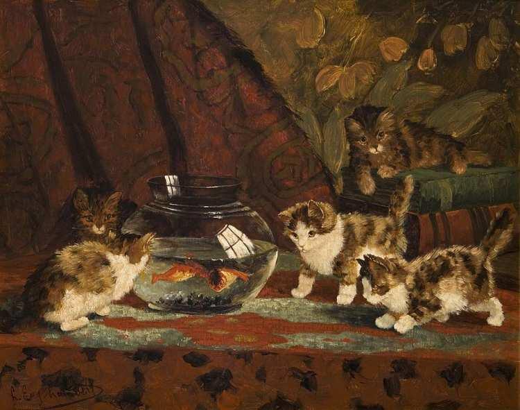 Louis-Eugène Lambert | Fünf Kätzchen am Goldfischglas