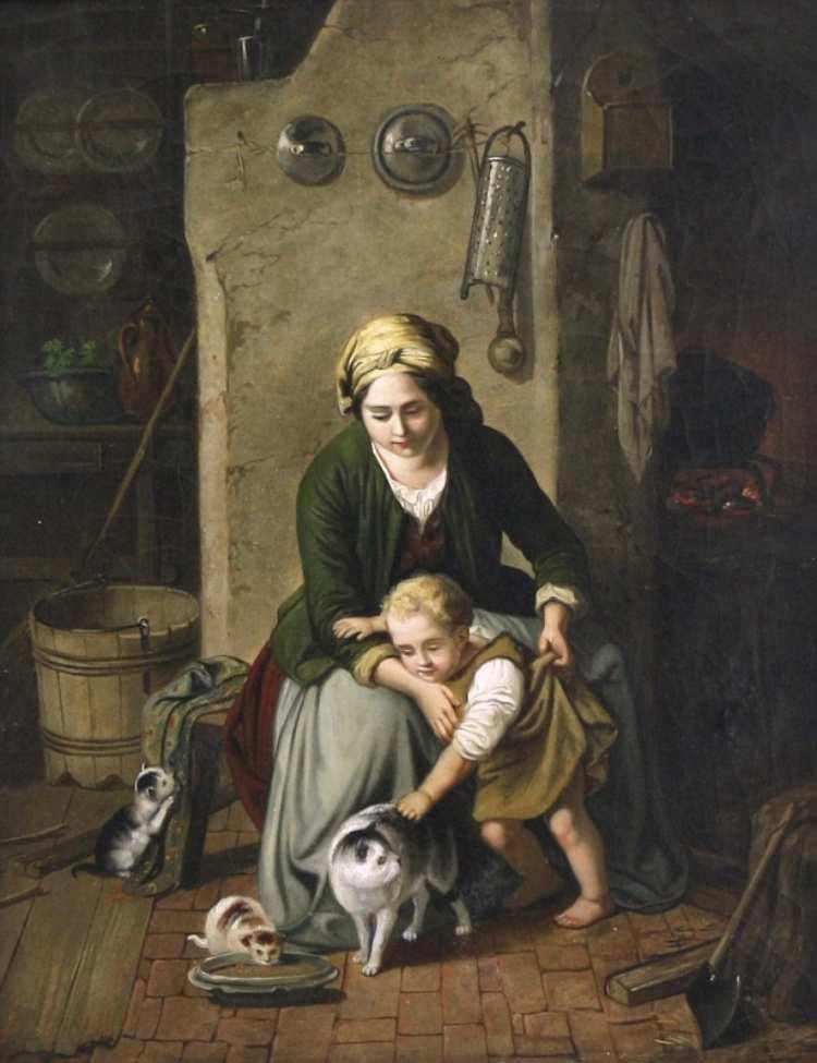 Johann Georg Meyer | Familienidylle vor der Feuerstelle