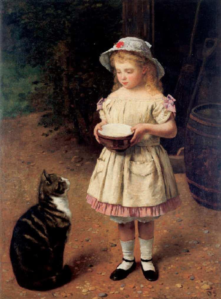 Otto Scholderer | Blondes Mädchen mit Katze, 1872-1873