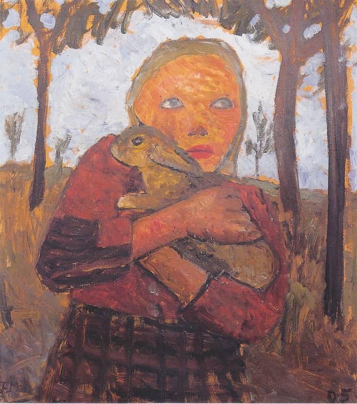 Paula Modersohn-Becker | Mädchen mit Kaninchen, 1905 | Von der Heydt-Museum Wuppertal