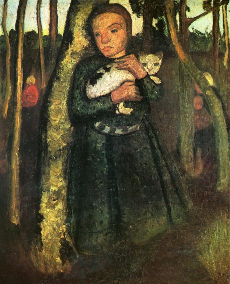 Paula Modersohn-Becker | Mädchen mit Katze im Birkenwald, 1904 | Sammlung Ludwig Roselius