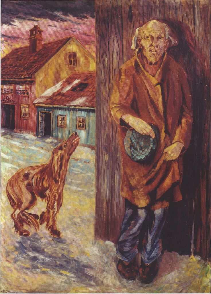 Aksel Waldemar Johannessen | Bettler mit Hund, 1920