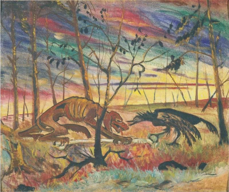 Aksel Waldemar Johannessen |Hund und Rabe, 1918