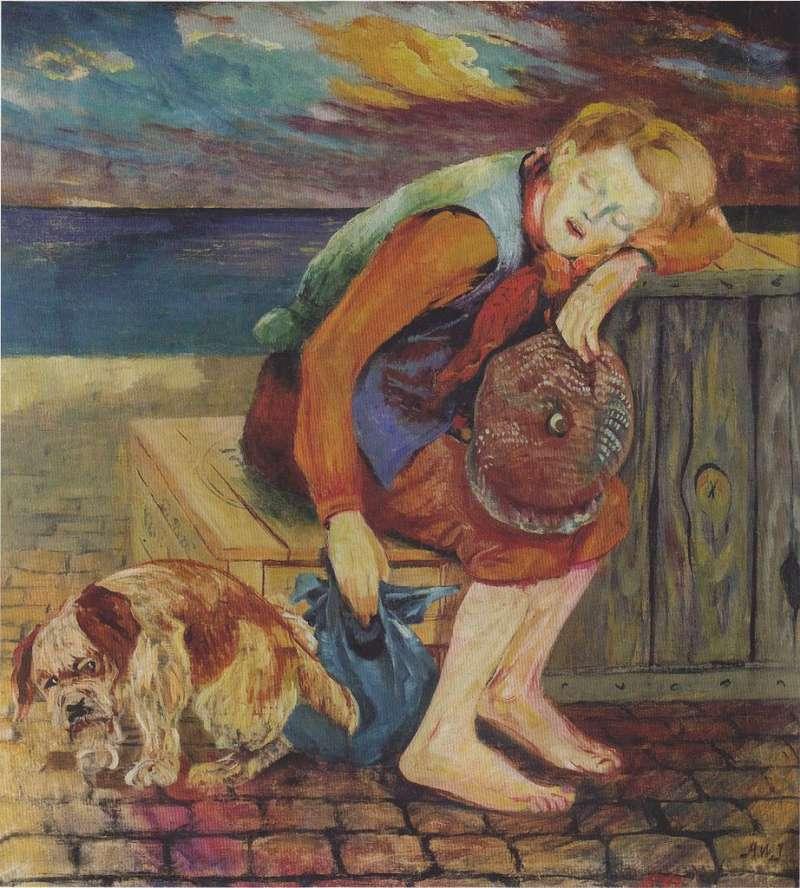 Aksel Waldemar Johannessen   Straßenjunge mit Hund, 1918-1922