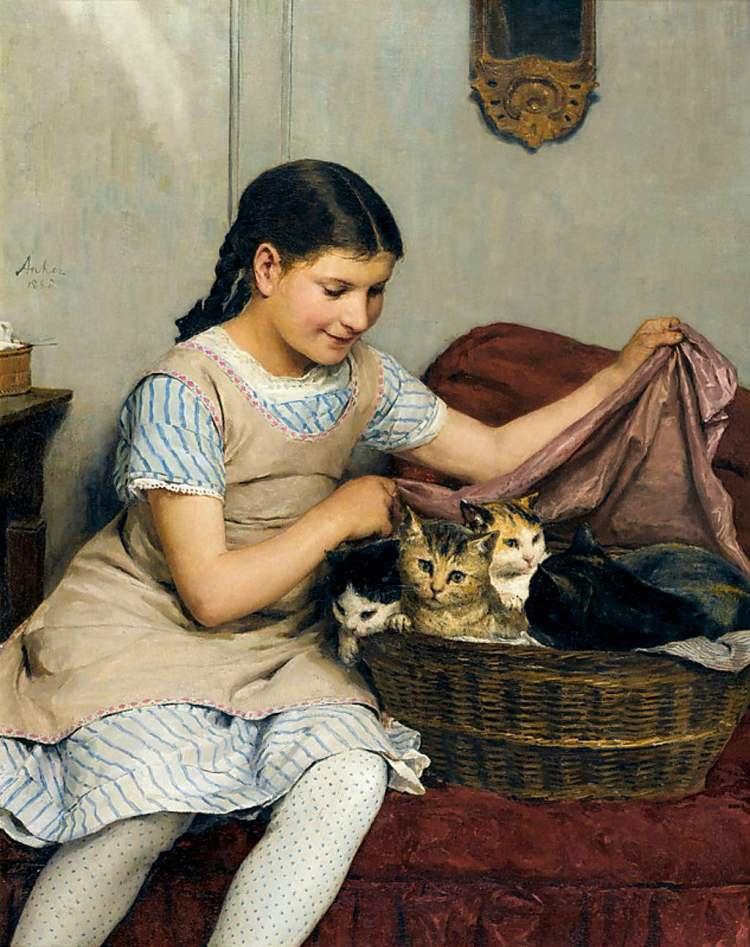 Albert Anker | Mädchen mit Katzen, 1862