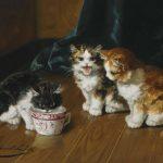 Alfred-Arthur Brunel de Neuville | Trinkende Kätzchen