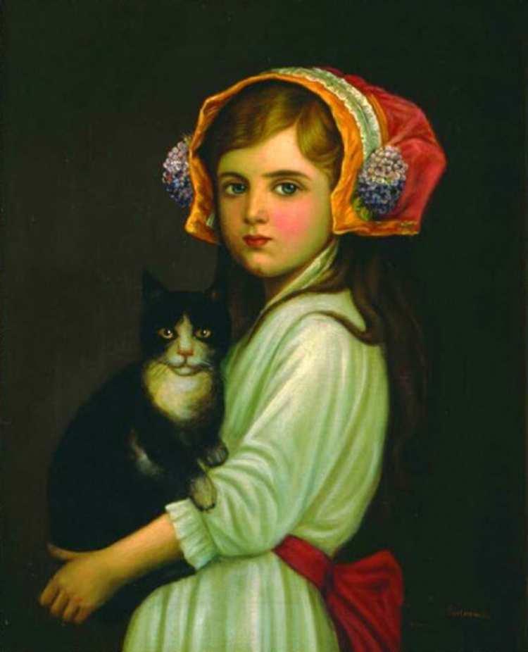 Antoni Piotrowski | Mädchen mit Katze, 1904