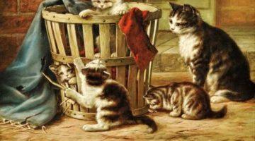 August Laux | Katze mit spielenden Jungen