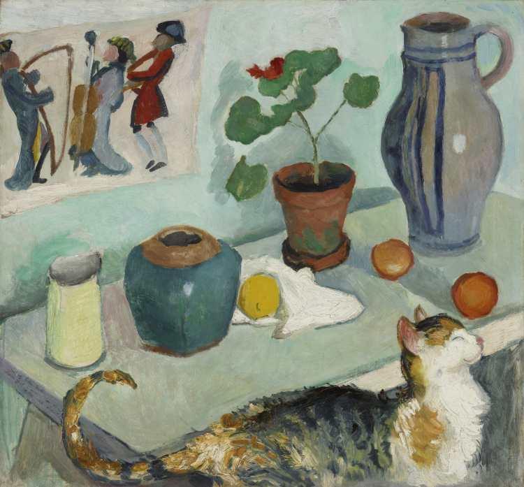 August Macke | Der Geist im Hausgestühl: Stillleben mit Katze, 1910