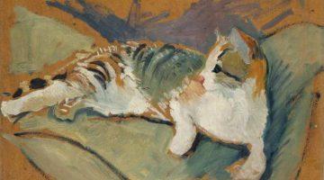 August Macke | Katze auf grünem Kissen, 1910