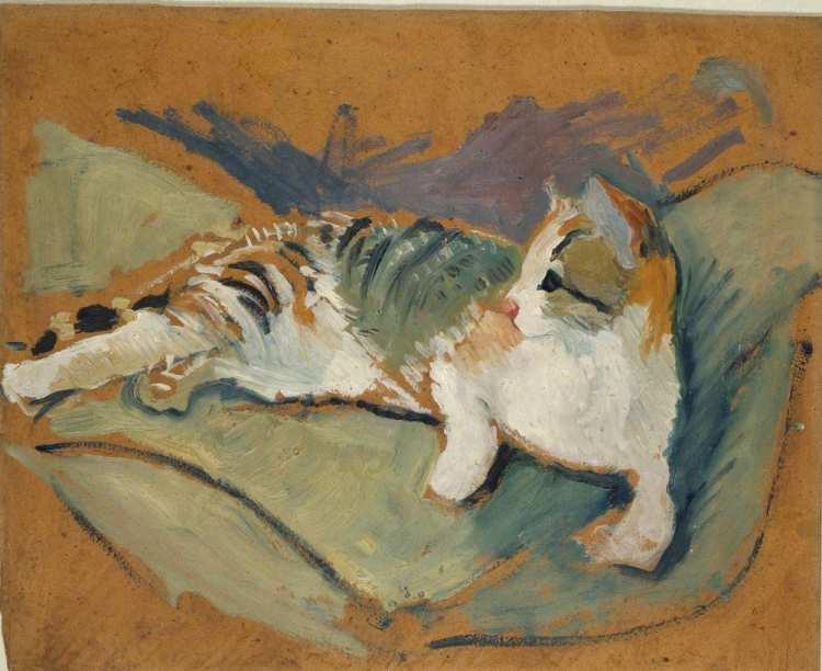 August Macke   Katze auf grünem Kissen, 1910