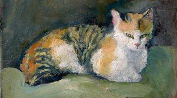 August Macke | Katze auf grünem Kissen, 1909