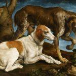 Jacobo Bassano | Two Hunting Dogs, 1548 | Museu Nacional d'Arte de Catalunya, Barcelona