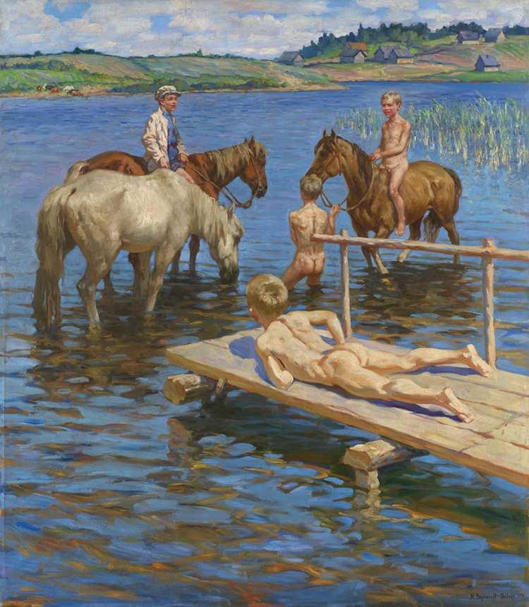 Nikolai Bogdanov-Belsky | Bathing Horses, 1939