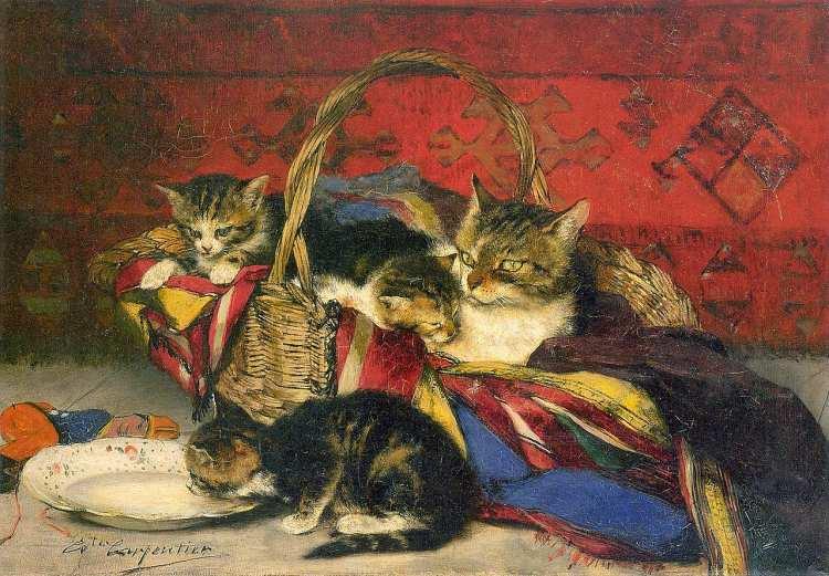 Évariste Carpentier | A Basket of Kittens, 1882