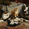 Charles van den Eycken | Kittens at Play, 1903