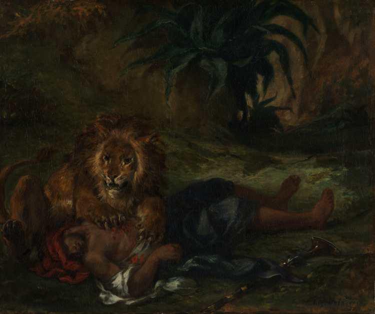 delacroix_Lion mauling a dead Arab, 1847