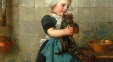 Edmond Louyot | Girl with Kittens (Detail)