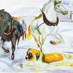Edvard Munch | Horse Team and a St. Bernard in the Snow, 1923 | Munch-museet Oslo