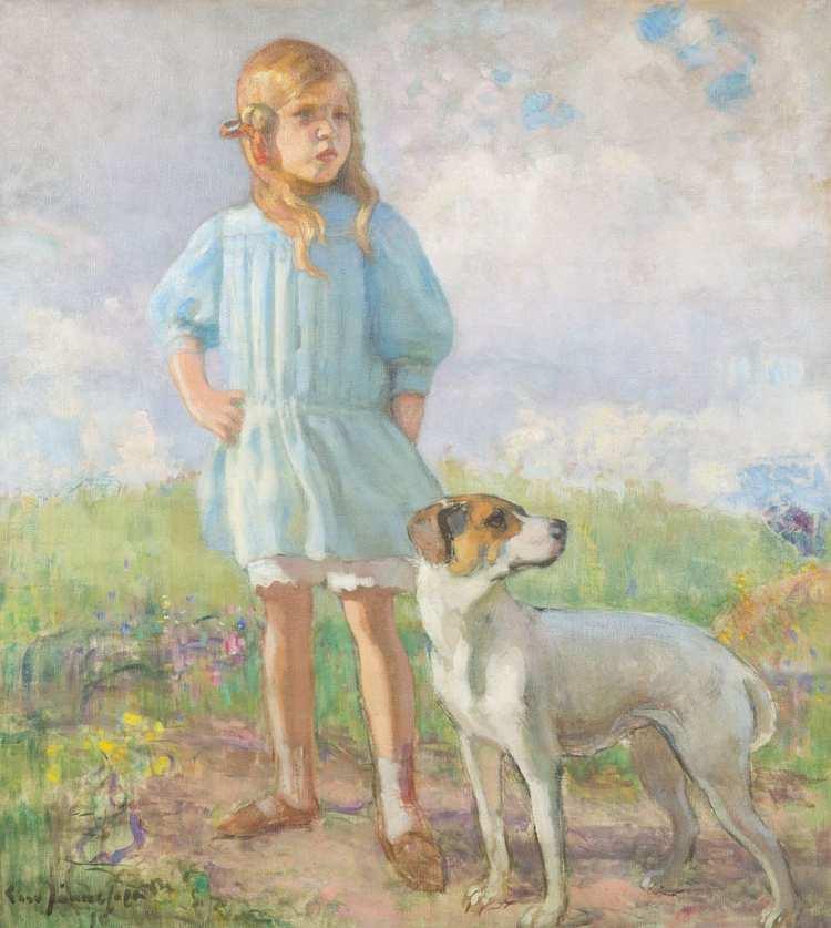 Erik Nikolai Järnefelt | Girl with a Dog, 1910 | Privatbesitz
