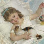 Émile Munier | Mädchen mit Katze, 1880