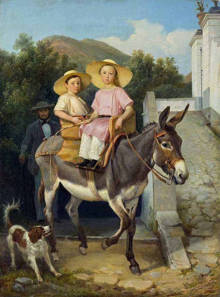 Filippo Palizzi   The Raevsky Children on a Donkey