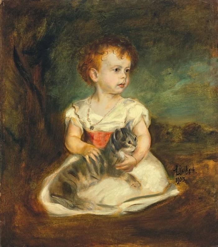 Franz von Lenbach | Kinderbildnis mit Katze, 1903