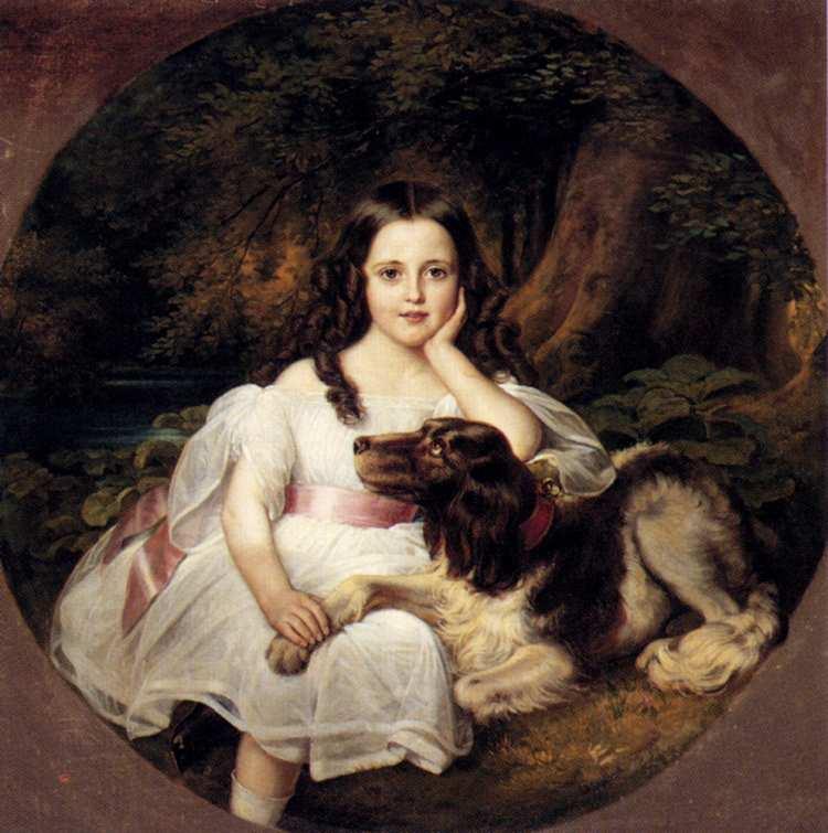 Friedrich August von Kaulbach | Junges Mädchen mit ihrem Hund