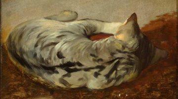 Friedrich Gauermann | Liegende getigerte Katze