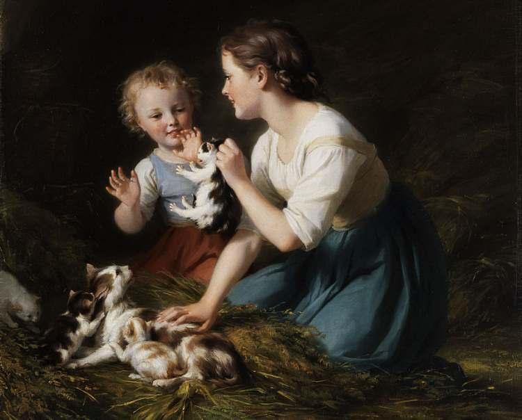 Fritz Zuber-Bühler, Kinder mit Kätzchen